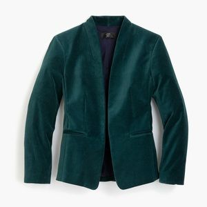 J.Crew Going out blazer in stretch velvet Green